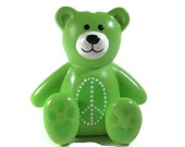 Hand Painted Ceramic Peace Sign Green Teddy Bear Bank can be Personalized Piggy Bank