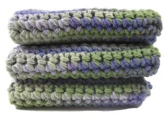 Lavender Fields Crochet Cotton Dish Cloth Wash Cloth Set of Three