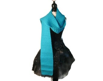 """Turquoise Crochet Acrylic Scarf """"Totally Turquoise"""""""