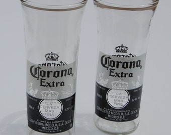 Set of two Corona Extra Beer Bottle Glasses