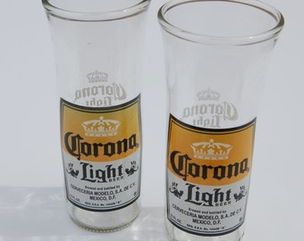 Set of two Corona Light Beer Bottle Glasses