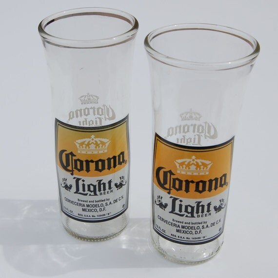 Set of two corona light beer bottle glasses for How to make corona glasses
