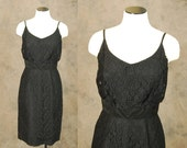 Clearance Sale vintage 60s Lilli Diamond Dress - Hourglass Black Lace Cocktail Dress - 1960s Wiggle Dress Sz S