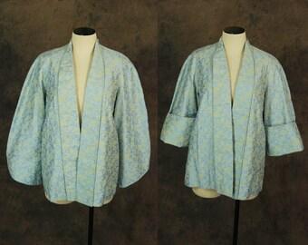 vintage 40s Coat - 1940s Blue and Cream Brocade Swing Coat - Bell Sleeve Short Evening Coat Sz S M L