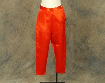 vintage 40s Satin Pants - 1940s Red Orange Lounge Pants Capri Pajama Pants Ankle Pants Sz S M 26 28