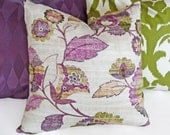 Purple Green Pillow Cover, Floral Throw Pillows, Mauve, Lilac, Spring Decorative Pillows, Flowers, Floral Cushion Cover 18x18