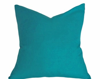 Teal Throw Pillow, Solid Teal Blue Pillow Cover, Decorative Pillows, Green Blue Designer Cushions for Modern Decor, 20x20