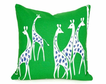 Kids Giraffe Pillow, Kelly Green Childrens Pillow, Saturated Green White Blue, Whimsical, Playroom, Unique Nursery Pillow Covers, 20x20