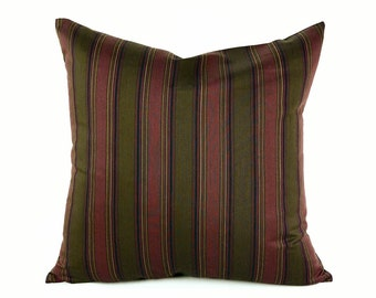 Merlot Pillow, Mens Striped Pillow Covers, Dark Wine Red, Olive Green, Country Lodge, Burgundy Decorative Throw Pillow, 18x18, 14x18