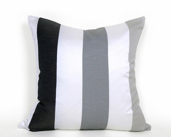 Black White Grey Striped Pillow Contemporary By