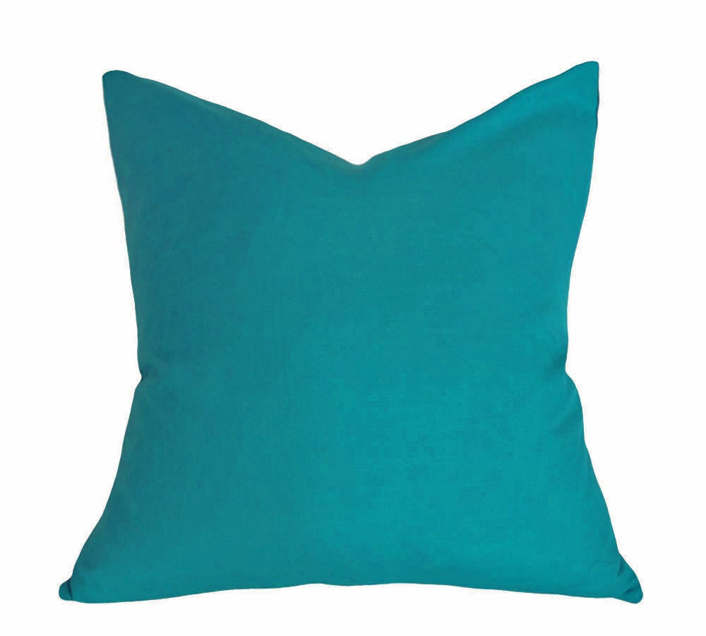 Throw Pillow Covers Teal : Teal Throw Pillow Solid Teal Blue Pillow Cover Decorative