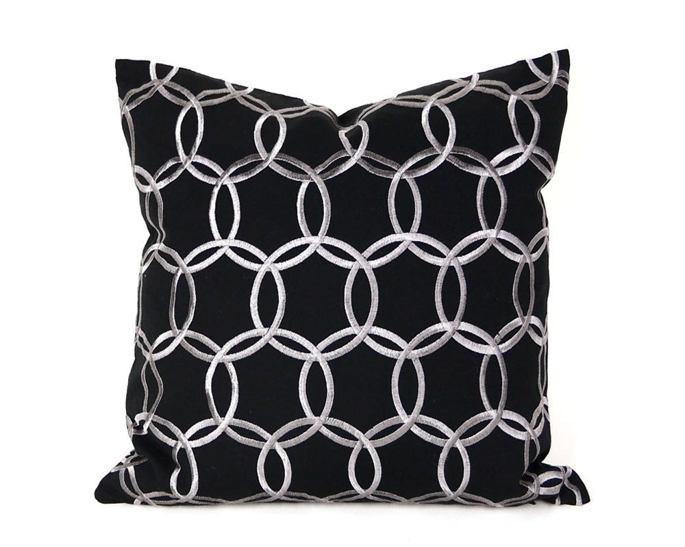 Black And Silver Decorative Pillows : Black Silver Pillow Cover Black Throw Pillow Silver Circles