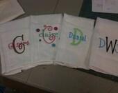 Set of 4 Name/Initial Custpom Burp Cloths