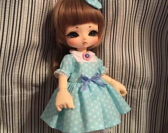 On Sale: Blue polka dots dress set for kinoko juice
