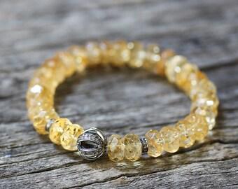 Diamond Citrine Pave Statement Bracelet / Natural Golden Faceted Citrine, Bohochic Bracelet, Bohemian Beaded Bracelet, November Birthstone