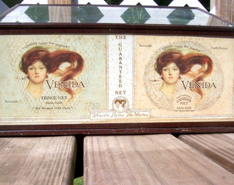 Antique Venida Hair Net Advertising Display Case Tin and Glass Pigeon Holes