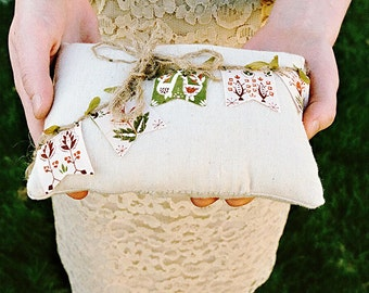 Ready to ship - Rustic Woodland Ring Bearer Pillow, Country Wedding Ring Pillow, Muslin, Cotton- one of kind event