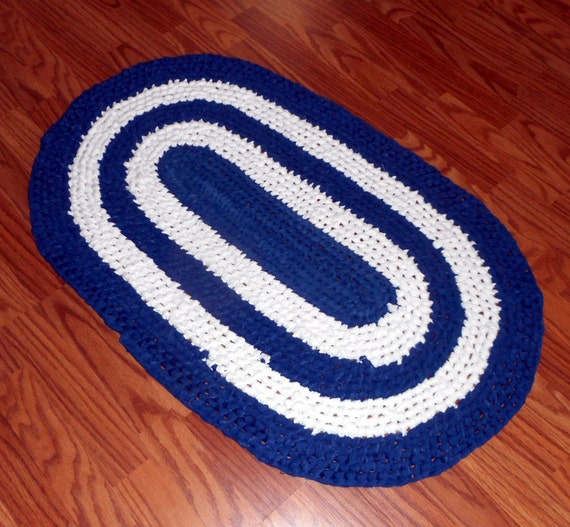 Rag Rug Blue And White Toothbrush Amish Knot