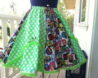 Vintage inspired Bright Green and White Polka dot The Frilly Luchador Full circle skirt with lace y bows