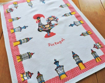 Portugal Souvenir Towel, Portugal Towel, Red Portugal Towel, Vintage Towel Rooster Towel, FREE SHIPPING with 2 Towels