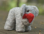 Needle Felted Elephant with Heart