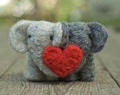 Needle Felted Elephant Couple with Heart