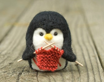 Needle Felted Penguin - Knitting