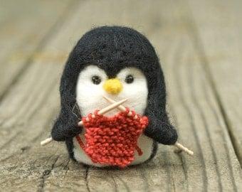 Needle Felted Penguin - Knitting