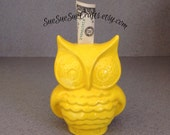 Ceramic Fat OWL Bank a Vintage Design Bright Yellow with rubber stoper