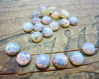Cabochon Fire Opal Glass Cabochon 7mm (6)