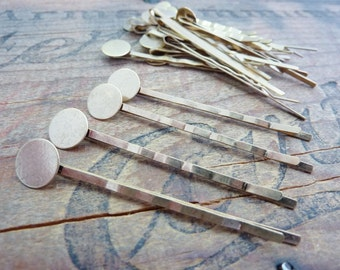 Hair Pin with 10mm Pad for Gluing Bobby Pin Hair Clip Gold (10)