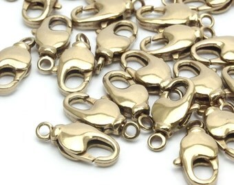 Brass Lobster Clasps, 20 Raw Brass Swivel Lobster Claw Clasps (17x7.5mm) Bs-1223--n593