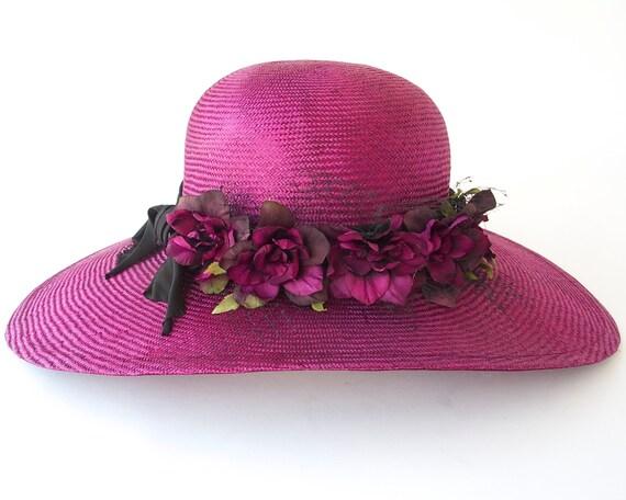 Wide Brimmed Straw Hat- Kentucky Derby Hat- Spring Fashion- Women- Spring Accessories- Wedding Hat- Mother's Day- Magenta Hat- 1920s Hat