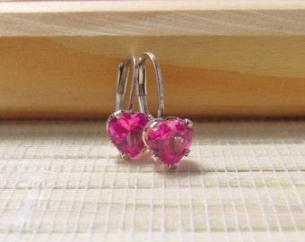 Pink Sapphire Earrings Leverback Sterling Silver 6mm On Sale
