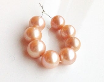 Beautiful Apricot Peach Freshwater Pearls - 10mm - Parcel of (8)