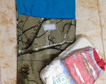 Diaper clutch, diaper and wipes case, real tree camo with turquoise