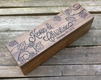 Fall Wedding wine box, wine box ceremony, wedding box, anniversary wine box, love letter wine box, wedding gift, shower gift, leaves, custom