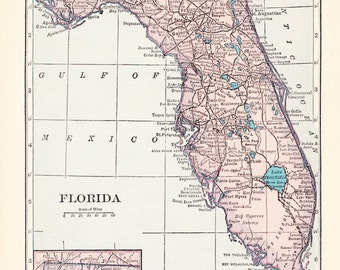 1926 State Map Florida - Vintage Antique Map Great for Framing