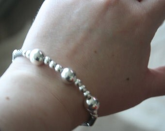 Sell out ..Sterling  Silver 925 Bracelet  With sterling silver  beads ,part of the set Very   ELEGANT - STUNNING