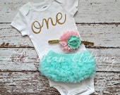 Baby Girl Baby Girl 1st Birthday Outfit Cake Smash Photography Props Gold One Bodysuit Mint Bloomers Pink Gold White