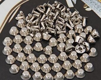 50 Set Silver Rivet Spike Studs Spots DIY Rock Punk Leathercraft 6x10mm-L851