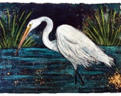 Fishing Egret PRINT matted to fit 11x14 standard frame
