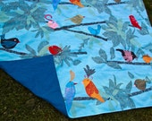Picnic Blanket- Birds on Branches in Turquoise Blue- Roll Up Blanket, Waterproof, Personalized