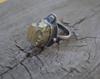 Gold Nugget Ring, Iron Pyrite Chunk Oxidized Sterling Silver Ring Size 8
