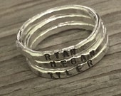 ONE fine silver stacking ring- hand stamped -hand made to order- custom moms jewelry stacker ring