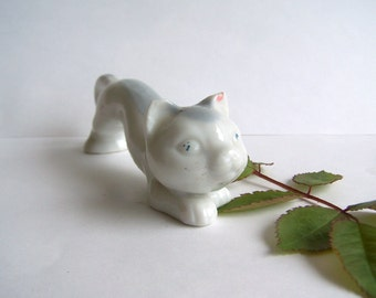 Vintage White Porcelain Miniature Cat Japan Export Adorable Kitty Cat Made in Japan 1950s Figurine
