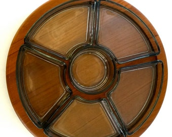 Danish Teak and Smoke Glass Appetizer Serving tray