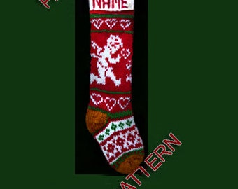 Pattern only  ---  Hand knit Christmas stocking,  snowflake, angel and heart