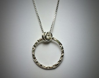 Sterling silver medium stamped circle necklace