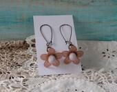 Dusky Rose Copper Flower Earrings